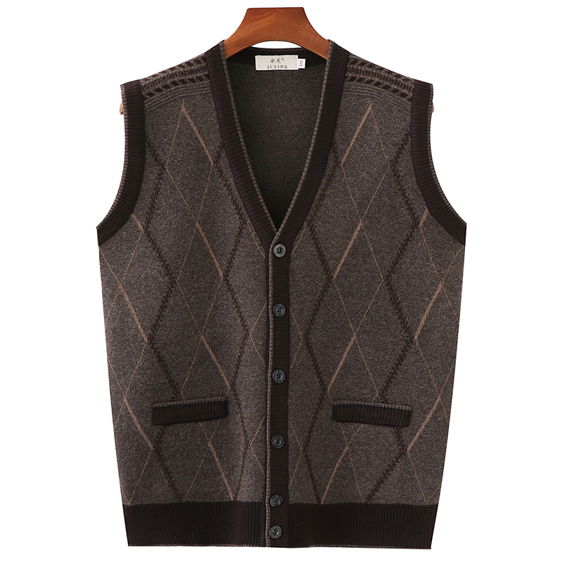 Spring and autumn and winter V-neck old people's thickened knitting sweater cardigan vest middle-aged and old men's father's maokan shoulder vest