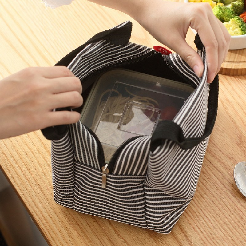 Large, thickened aluminum foil, hand-held heat preservation bag, Korean fabric lunch box bag, lovely, fresh, round lunch bag, womens bag