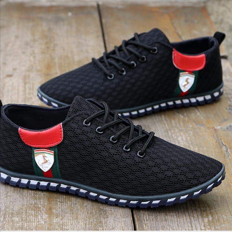 Low top black mesh shoes mens breathable mesh driving shoes mesh driving lazy summer light autumn mens sole