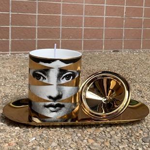 Fornasettia人脸香薰烛台香薰罐摆件 蜡烛杯欧式杯饰品储物收纳罐