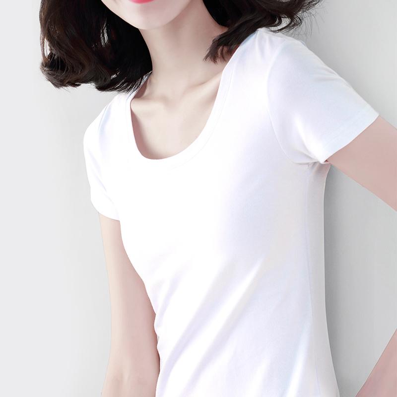 35 纯白短袖t恤2019新款夏季修身洋气棉质体恤上衣女显瘦半袖韩版