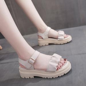 配裙子仙女凉鞋2021年新款夏季百搭厚底罗马鞋时尚小众款晚晚女鞋