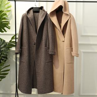 手工雙面羊毛大衣女款 D88309 高階感 反季人字紋連帽長款 這款價格圖片_樂多購物網