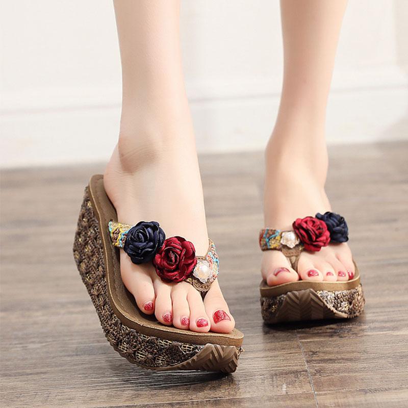 高跟时尚防滑凉拖鞋女夏海边沙滩鞋厚底度假外穿夹脚花朵人字拖