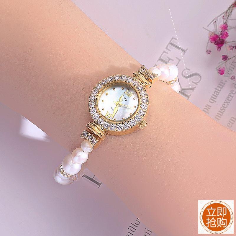 ,手镯手表女手镯式小巧精致贝母防水石英复古中国风表盘珍珠手表