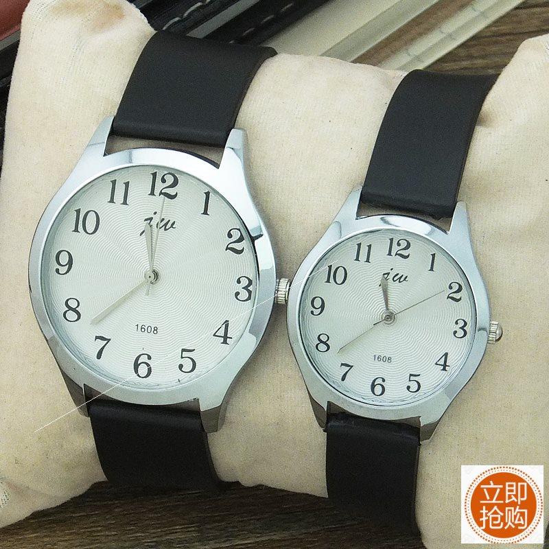 。简约时尚数字款手表韩版女士中学生休闲腕表男橡胶带石英情侣对