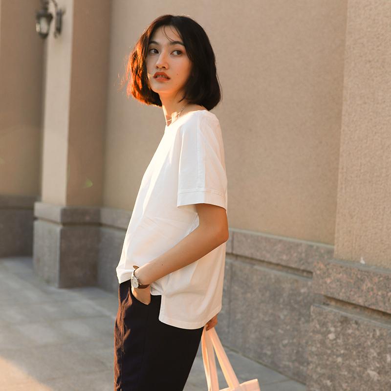 正品保证山柚 日系宽松落肩袖白色t恤女夏季新款休闲百搭纯色短袖打底上衣