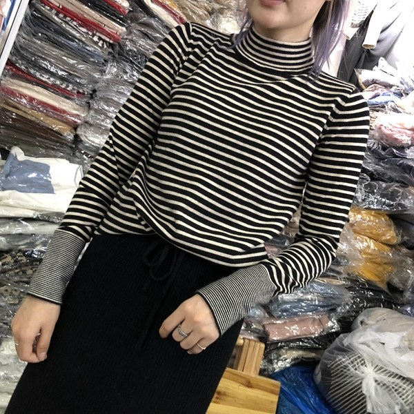 Bottoming womens autumn and winter half high collar womens long sleeve slim black and white stripe knitwear Korean small high collar sweater