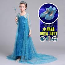 冰雪儿童公主裙奇缘爱沙女王女童连衣裙秋冬款艾莎爱莎纱拖尾礼服