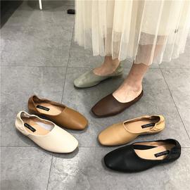 两穿方头浅口单鞋女平底平跟软底舒适软皮奶奶鞋INS百搭韩版瓢鞋