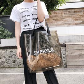 夏季大包包女包2019新款韩版果冻透明手提包时尚百搭大容量单肩包图片