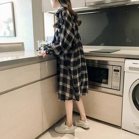 格子女春韩版宽松中长款复古衬衫