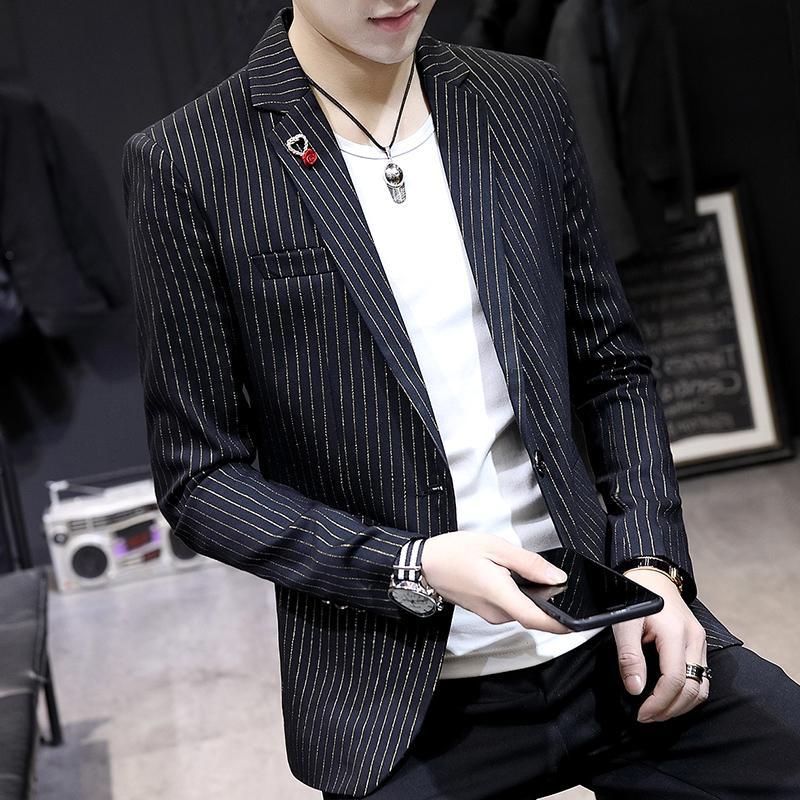 春季男士长袖条纹小西装韩版青年修身发型师帅气西服男装夜店外套