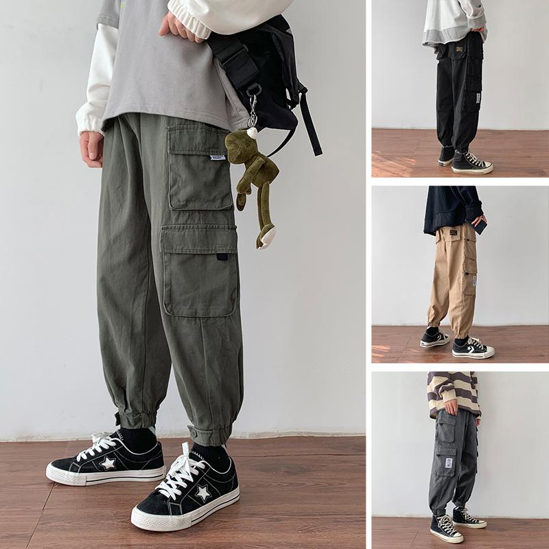 Kongzi literature and art mens loose tooling casual pants mens Korean fashion straight tube corset parachute pants thickened and plush