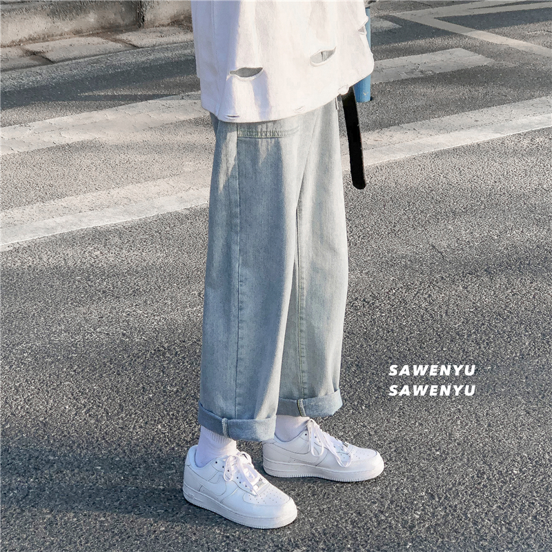 Jeans, mens straight tube, loose fashion brand, INS, drop sense, wide leg, casual pants, long pants, Korean version, trend, cropped pants