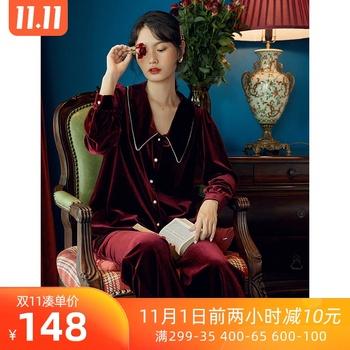 春秋可外穿长袖金丝绒两件套装睡裙
