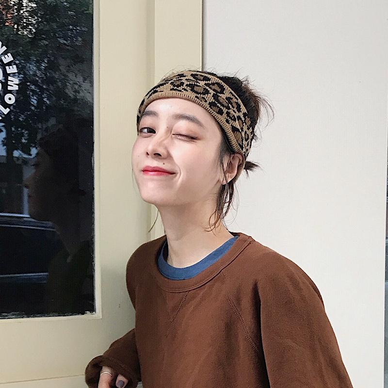 韩国东大门ins可爱针织豹纹发带