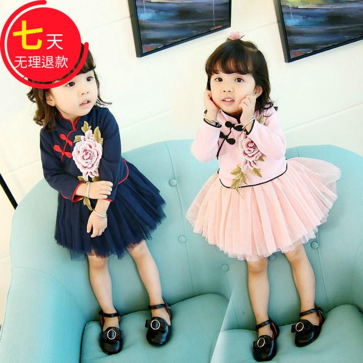 0女宝宝3小孩女童装4公主裙子民族风婴儿童春秋冬款旗袍1-2至5岁