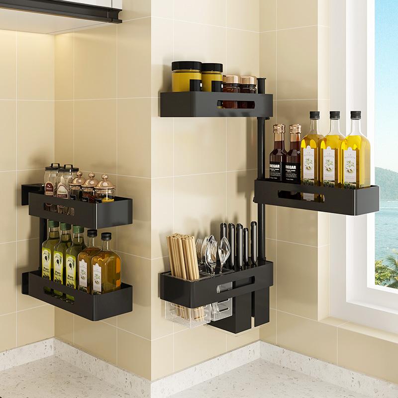 调味料架厨房旋转置物架免打孔刀架转角壁挂式多层黑色收纳架子10月10日最新优惠