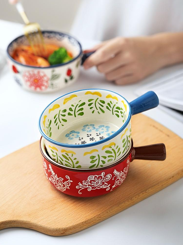 Japanese style small bowl with handle single child creative student lovely bowl tableware ceramic super cute soup bowl