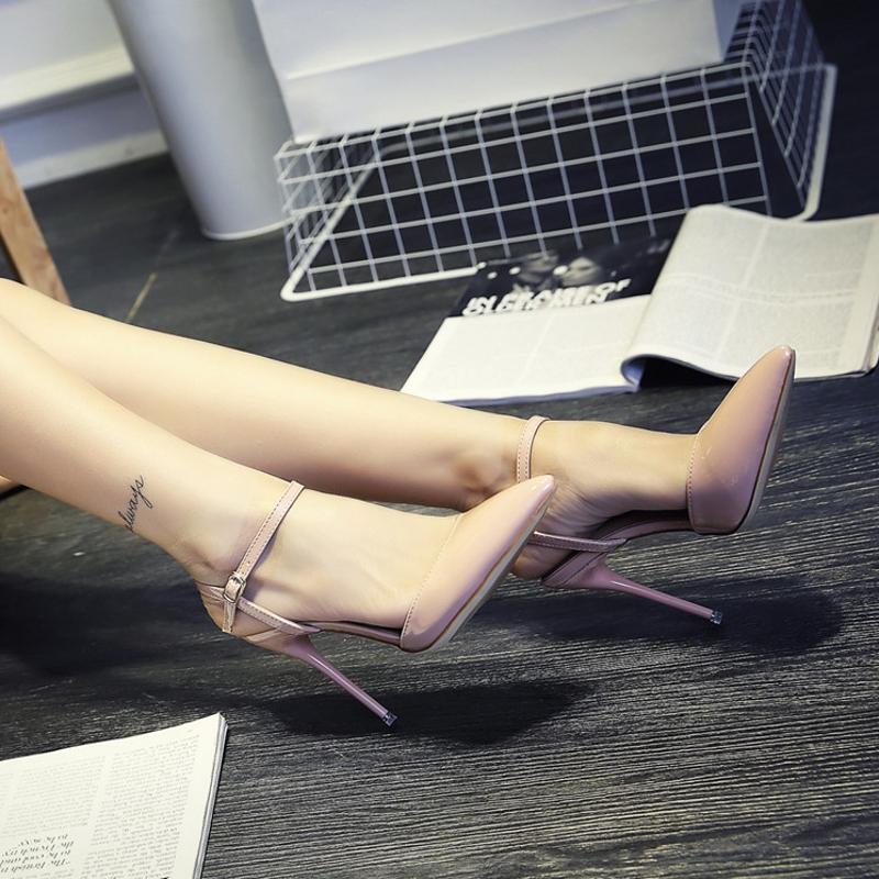 细跟高跟鞋 2021夜场10cm一字扣女鞋 春季尖头包脚凉鞋女带夏单鞋