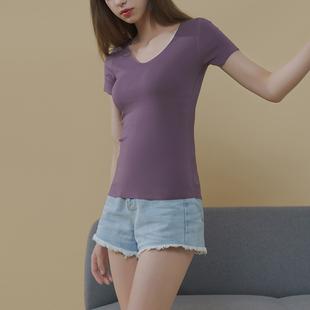 2019新款 修身 短袖 韩版 v领纯色莫代尔白色黑色无痕体恤 t恤女士夏季