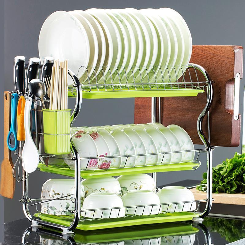 空沥水不锈钢三层2多功能厨房碗架限10000张券