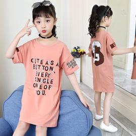 童装2020夏装新款洋气T恤中大童中长款韩版纯棉打底衫卫衣裙儿童