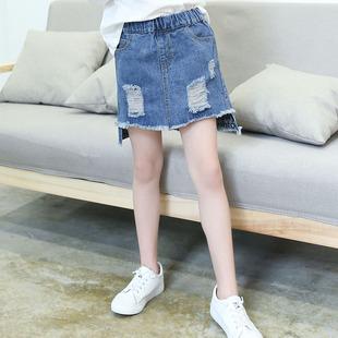 女童牛仔裙秋裝新款洋氣百搭半身裙中大童破洞裙子韓版兒童超短裙