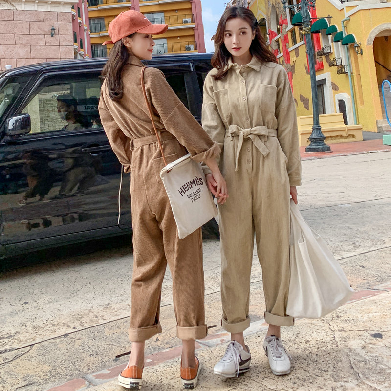Corduroy Jumpsuit women small fall / winter 2019 new loose skinny BF work clothes student casual Jumpsuit