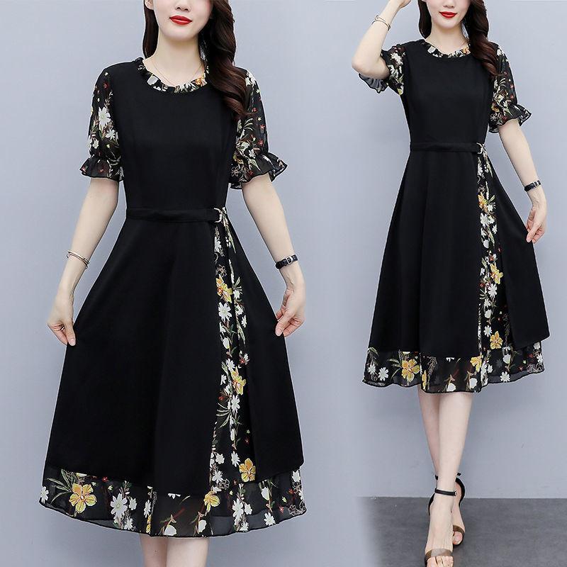 雪纺拼接连衣裙女2021夏装新款流行大码女装胖mm修身显瘦气质裙子