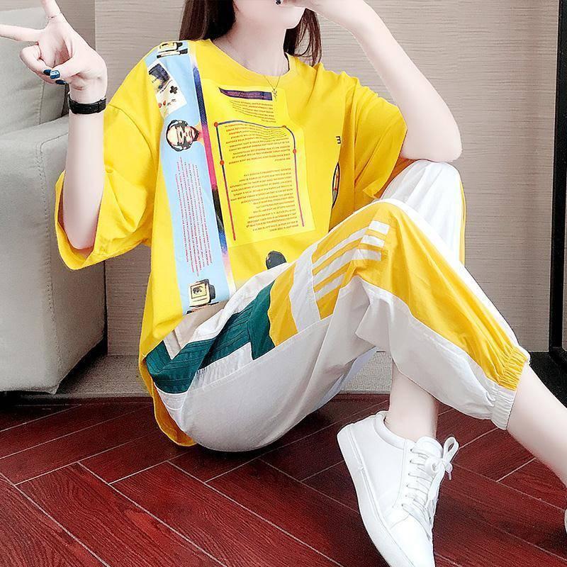 2021夏季单件/套装 运动休闲女潮牌宽松显瘦韩版裤子短袖两件套