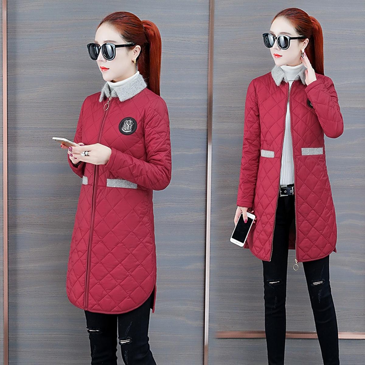 2020新款冬季棉衣外套轻薄中长款女土羽绒棉服女式的棉袄子贵夫人