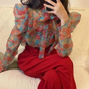 价8222#欧美复古欧根纱透视印花荷叶边衬衫,女装衬衫,D家潮人馆