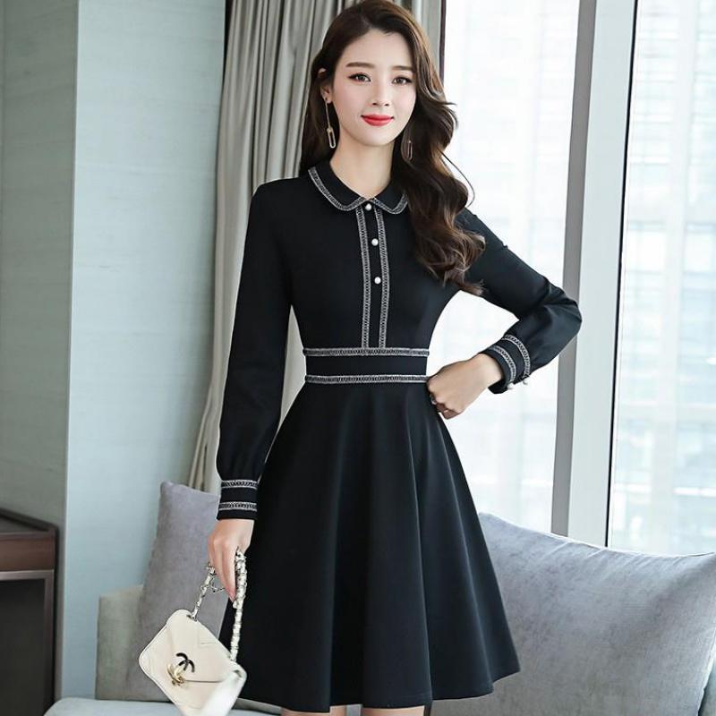 长袖连衣裙女2019年秋冬季新款女装高冷系法式复古裙收腰成熟气质