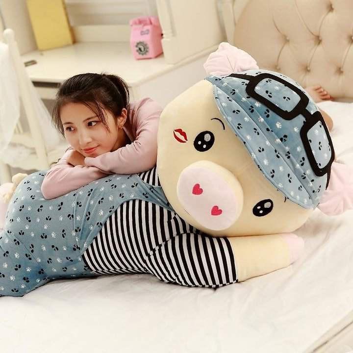 日本购布娃娃大号玩具礼物抱着男女麦兜猪猪可爱的睡觉抱枕