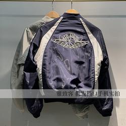 宾迪奥联名款拼色飞翼标识刺绣棒球领男士夹克男装飞行员短款外套