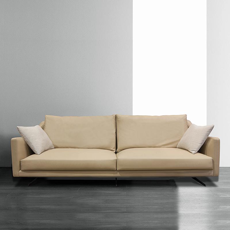 Leather sofa, leather, modern simple three person living room, Italian furniture, light luxury down leather sofa