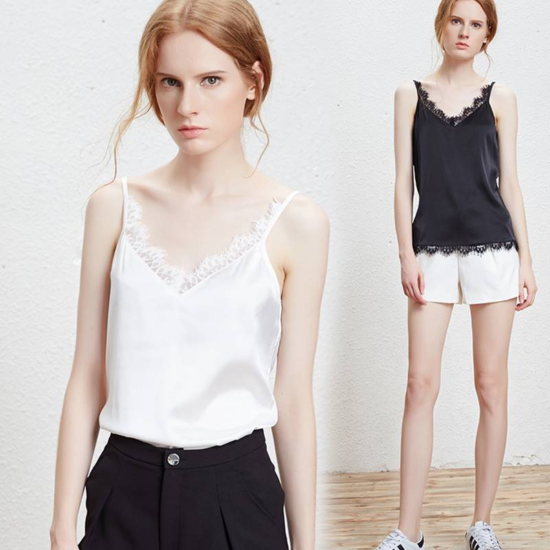 2020 fashion new Satin suspender bottomed waistcoat women lace bottomed shirt can wear a suit bottomed shirt