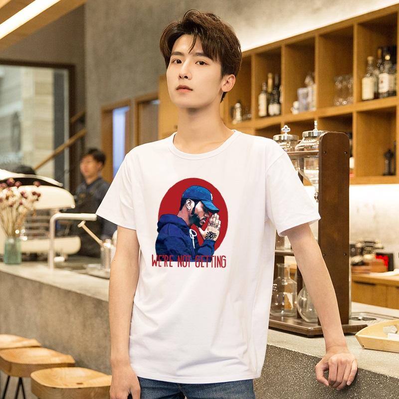 夏季青年日系男款短袖男宽松纯棉 男生潮流白色圆领纯色半袖T恤图片