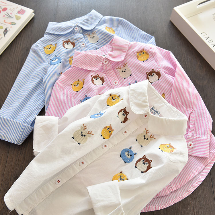 Spring 2020 new girls Korean long sleeve shirt owl cartoon embroidered Lapel striped shirt