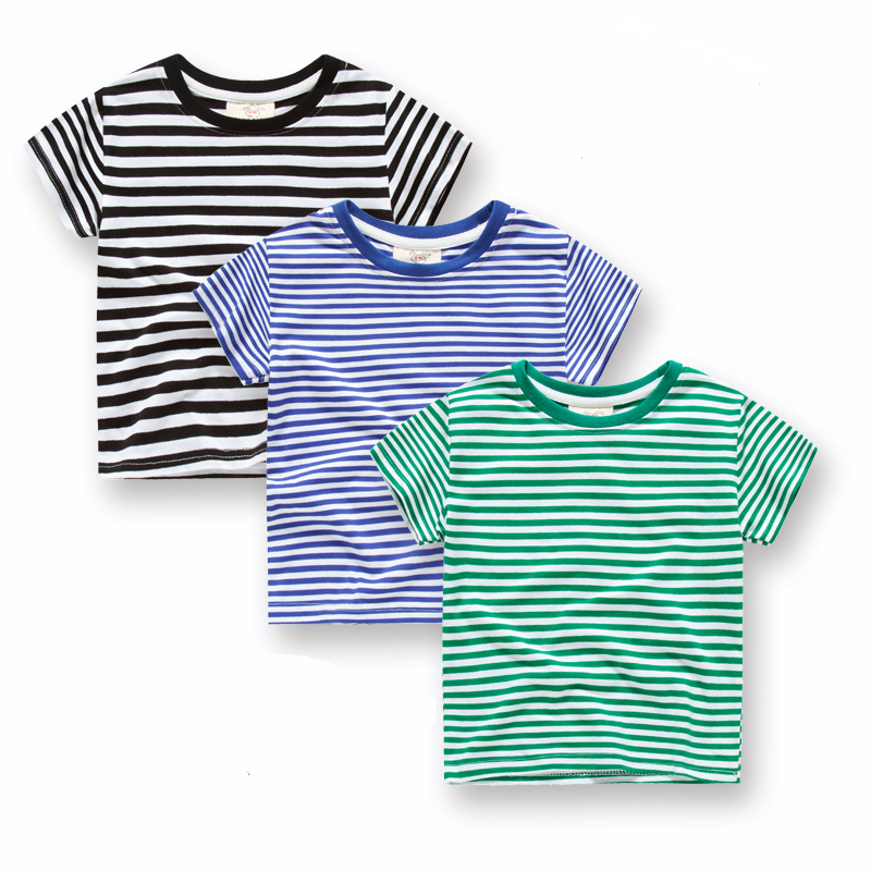 2020 boys and Children Summer Short Sleeve T-Shirt Pure Cotton Striped sea soul shirt Navy style childrens stripe student half sleeve