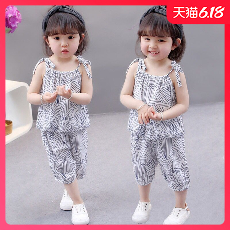 Childrens wear girls suspender bottoming shirt thin childrens suspender Sleeve T-Shirt Baby summer top and pants two piece suit