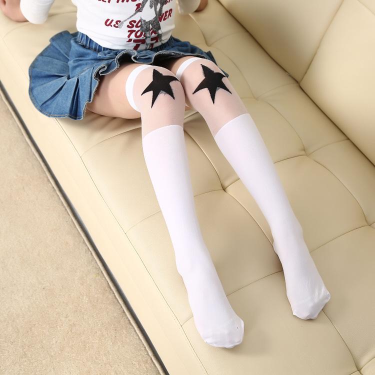 女童过膝袜夏季儿童半筒袜薄款玻璃袜冰丝长筒堆堆袜公主高筒丝袜