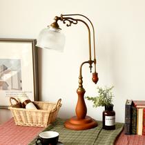 美式装饰台灯卧室床头灯复古实木书房阅读灯新中式高台灯创意简约