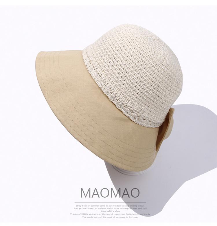 帽子女遮陽潮棉線拼接春夏度假沙灘防曬百搭蝴蝶結透氣涼帽漁夫帽