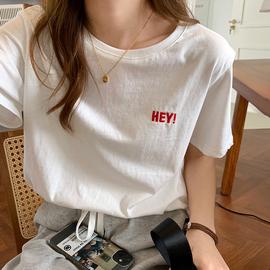 原宿风短袖t恤女夏宽松韩版全棉上衣2020年新款夏季纯棉字母刺绣