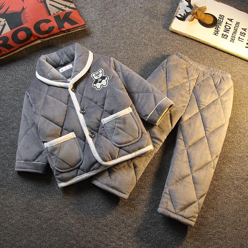 秋冬季儿童三层夹棉法兰绒男童女童睡衣宝宝珊瑚绒小孩加厚款男孩