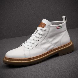 马丁靴男鞋2020新款潮鞋真皮高帮鞋工装靴子白色皮靴男英伦风短靴图片