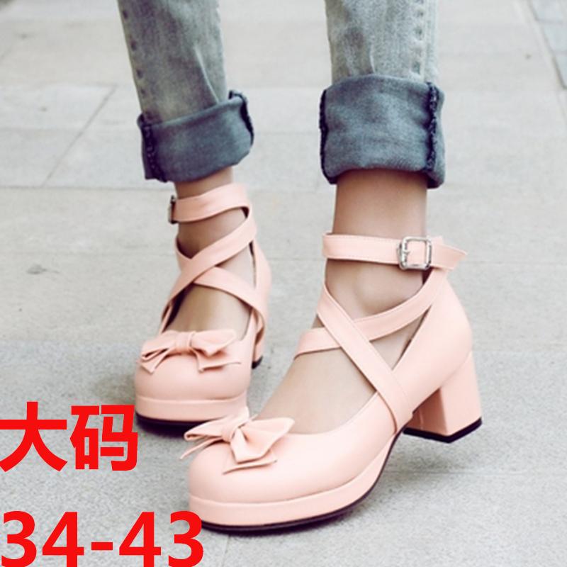 2019 new princess maid Lolita school uniform Lolita bow sweet thick medium heel shoes cos